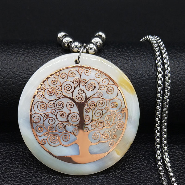 Tree of Life Rose Gold Color On Pearl Long Necklace 1
