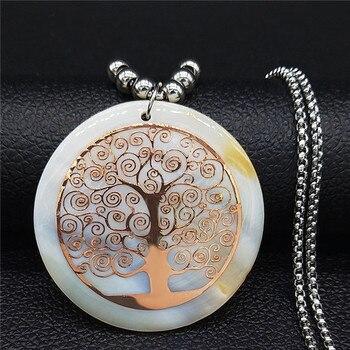 Collar de acero inoxidable 2020 Shell collar de declaración mujer árbol de la vida Color oro rosa collar largo joyas bisutería mujer N18415