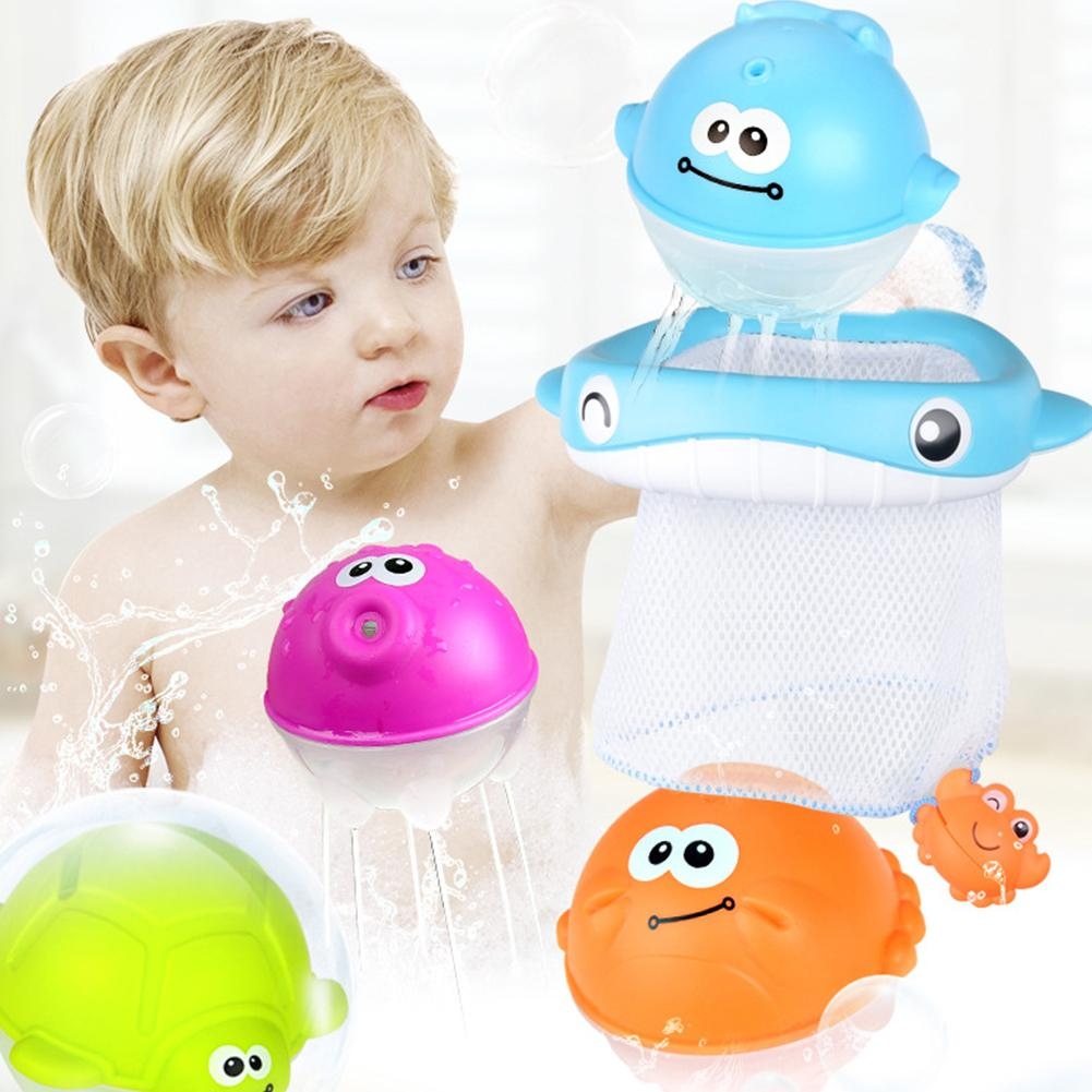 2 In 1 Whale Basketball Hoop Fishing Net With Ball Shooting Catching Game Baby Bath Toy Child Bathroom Squirt Water Toys Set