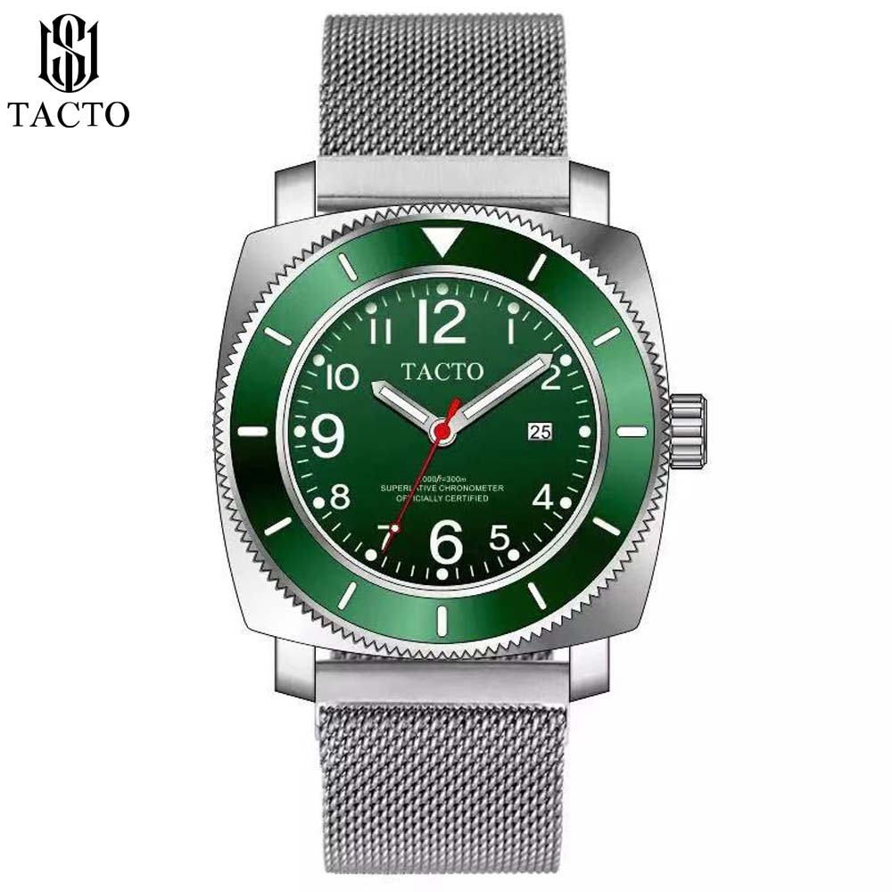 Man Watch 2019 Top Brand Tacto Watch Men Sports Watches Rotatable Bezel GMT Classic Trendy Stainless Steel Watch Gifts for men