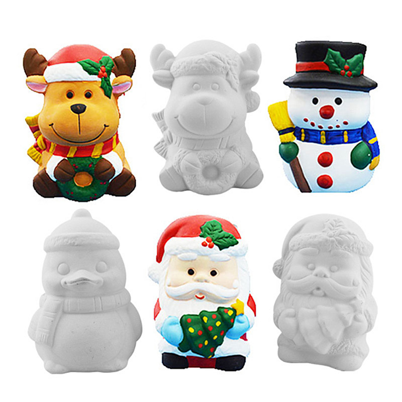 Kids DIY Ceramic Christmas Doll White Mould Filling Christmas Dolls Hand Make Painted Toys Children Piggy Bank Coloring Toy
