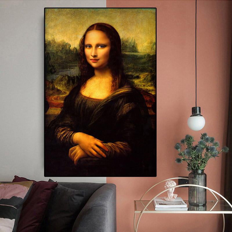 Da Vinci Smile of Mona Lisa Canvas Painting Oil Painting for Living Room Wall Art Posters and Prints Home Wall Pictures Decor