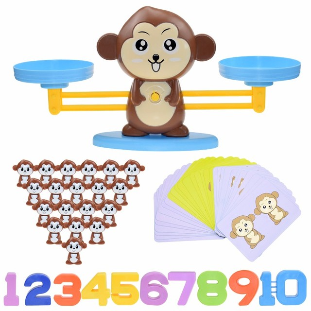 Montessori Math Toy Digital Monkey Balance Scale Educational Math Penguin Balancing Scale Number Board Game Kids Learning Toys 2