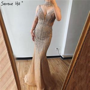 Image 3 - שלווה היל דובאי שמפניה V צוואר פניני יהלומי שמלת ערב 2020 האחרון עיצוב שרוולים בת ים סקסי המפלגה שמלת CLA70055