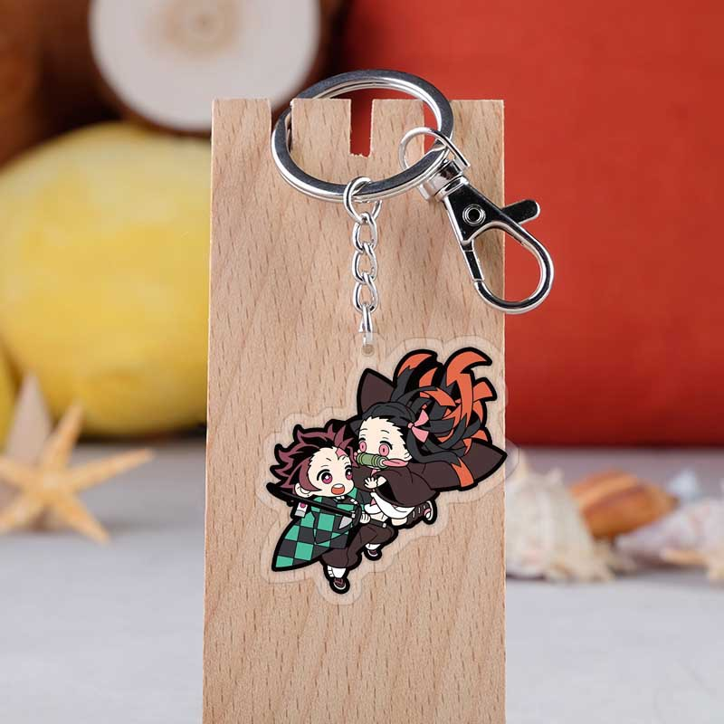 Anime Wholesale Demon Slayer Kimetsu No Yaiba Keychain Kamado Tanjirou Nezuko Agatsuma Zenitsu Cosplay Accessories Key Chain