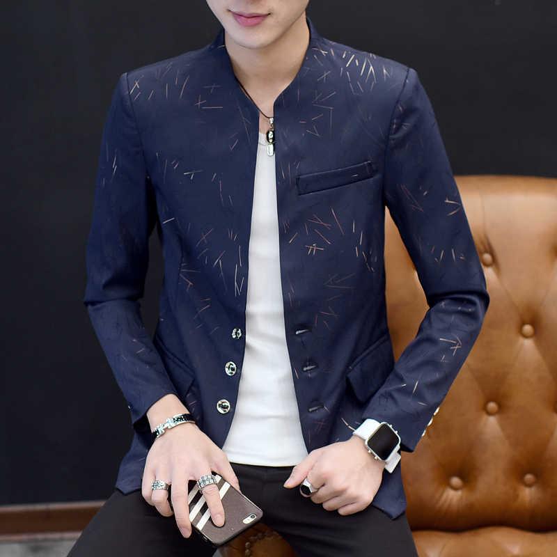 남성 꽃 중국 칼라 정장 골드 프린트 클럽 파티 댄스 파티 재킷 Madarin Blazer Homme 슬림 피트 플러스 사이즈 5xl 6xl