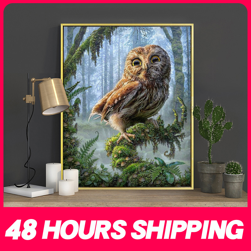 Meian Cross Stitch Embroidery Kits 14CT Owl Animal Tree Cotton Thread Painting DIY Needlework DMC New Year Home Decor VS-0035