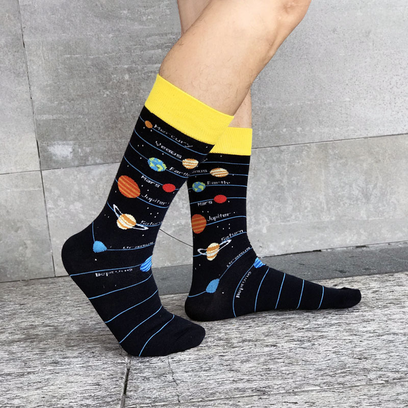 Men's Fashion High-quality Combed Cotton Socks Funny Astronaut Planet Spaceship Rocket Alien Pattern Socks Happy Men Gift Socks