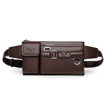 Mens leather waist bag mens multi-function sports chest casual shoulder crossbody