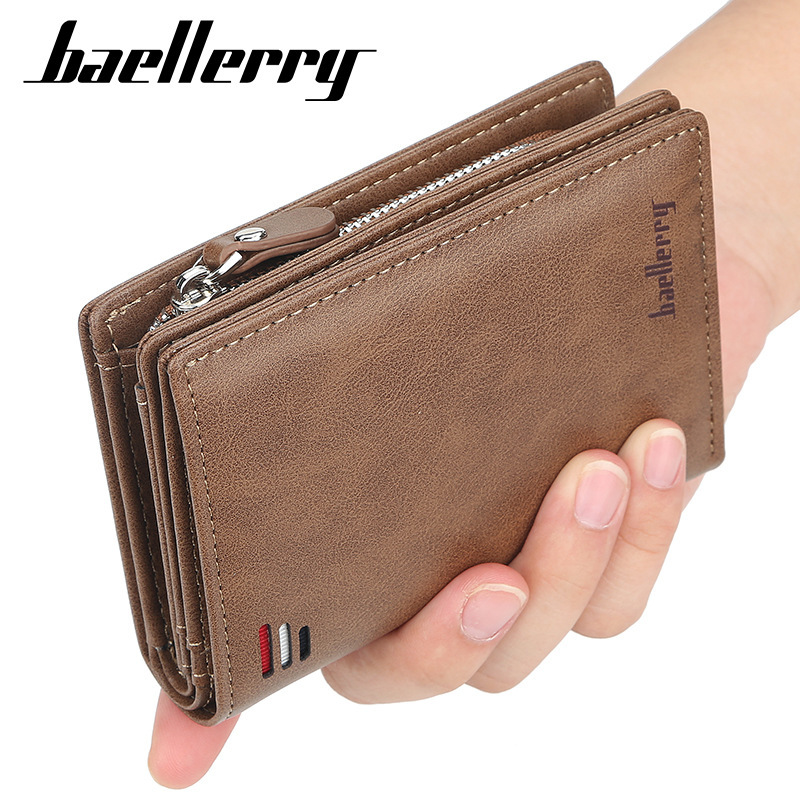 Baellerry Short Men Wallets New Card Purse Zipper Coin Pocket Vintage Big Capacity Male Money Purses Luxury Brand Card Holder
