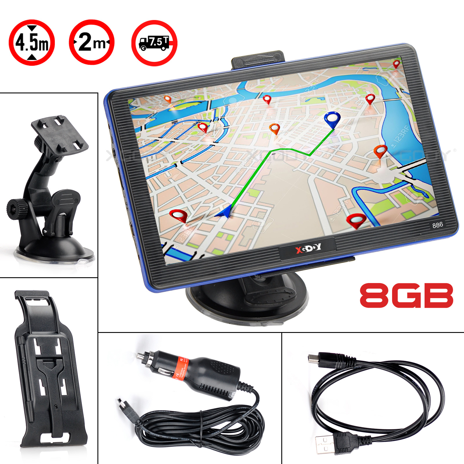 XGODY 886 7'' Truck Car GPS Navigation 256M+8GB Capacitive Screen Navigator Bluetooth Hands Free Call Optional France 2019 Map