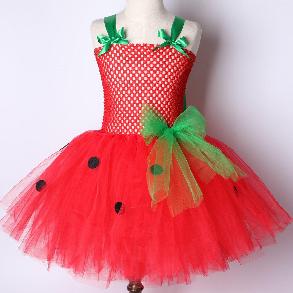 Girls Patry Dance Princess Costume Red Tutu Dress Girls 0-12Y Strawberry Design Baby Tutu Dress Birthday Clothing Children  4