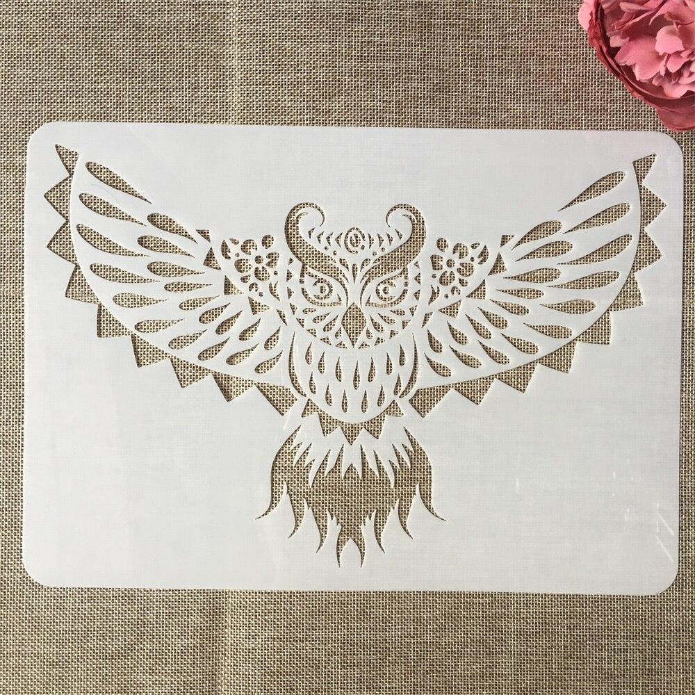 A4 29cm Owl DIY Layering Stencils Painting Scrapbook Coloring Embossing Album Decorative Template