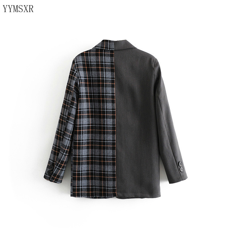 Casual Women's Patchwork Plaid Women's Jacket 2020 New Fall Fashion Loose Ladies Blazer elegant Female Small suit coat