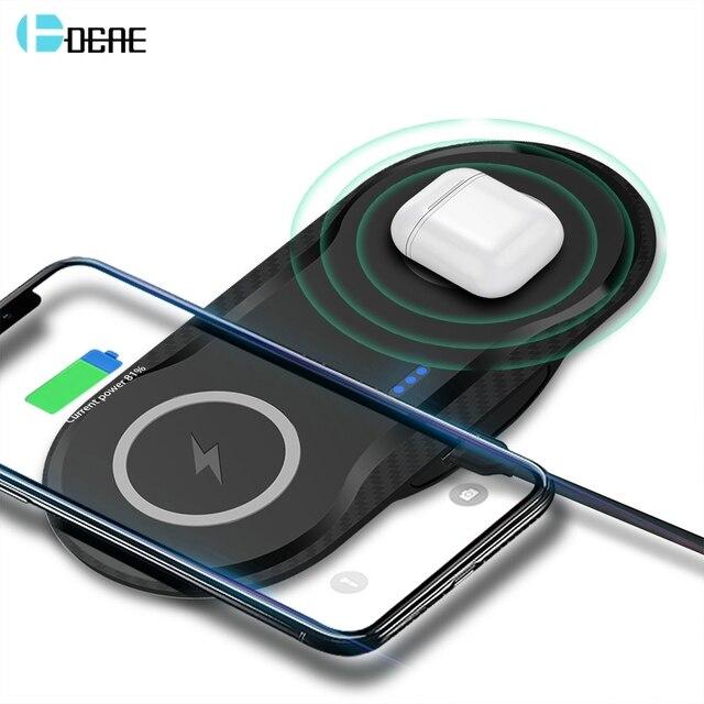 DCAE 20W chargeur sans fil pour iPhone 11 Pro XS XR X 8 AirPods 2 10W double charge rapide Station daccueil USB C pour Samsung S10 S9