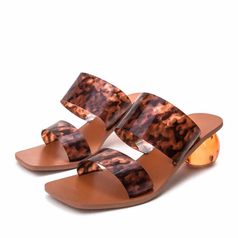 2021 yeni top topuk tasarım kadın terlik kare ayak PVC katır yaz gladyatör sandalet plaj slaytlar kadın açık topuklu