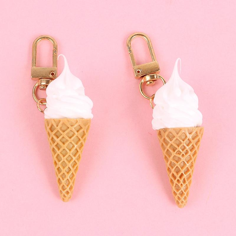 Dayoff Creative Ice Cream Keychain Keyring For Women Men Girl Jewelry Cute Cartoon Handbag Key Holder Decoration K87