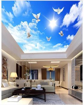 Niestandardowa tapeta na sufit 3d mural z zenitem tapeta 3 d piękny niebieski niebo i białe chmury gołąb niebo sufit tło ściana tanie i dobre opinie SYBH CN (pochodzenie) USD rolka Tapeta jedwabna TŁOCZONA Nowoczesne Tapety materiałowe Włókniny SALON do pokoju z pościelą