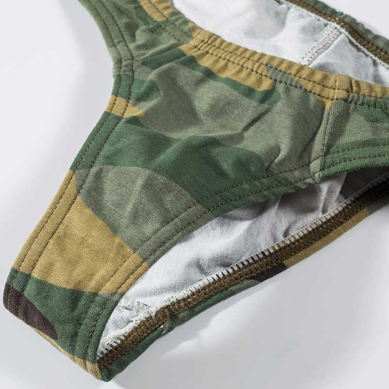 Seksi eşcinsel iç çamaşırı erkek tanga erkekler jockstrap erkek thongs ve g dizeleri sissy külot dize erkek iç çamaşırı pamuk kamuflaj AD309