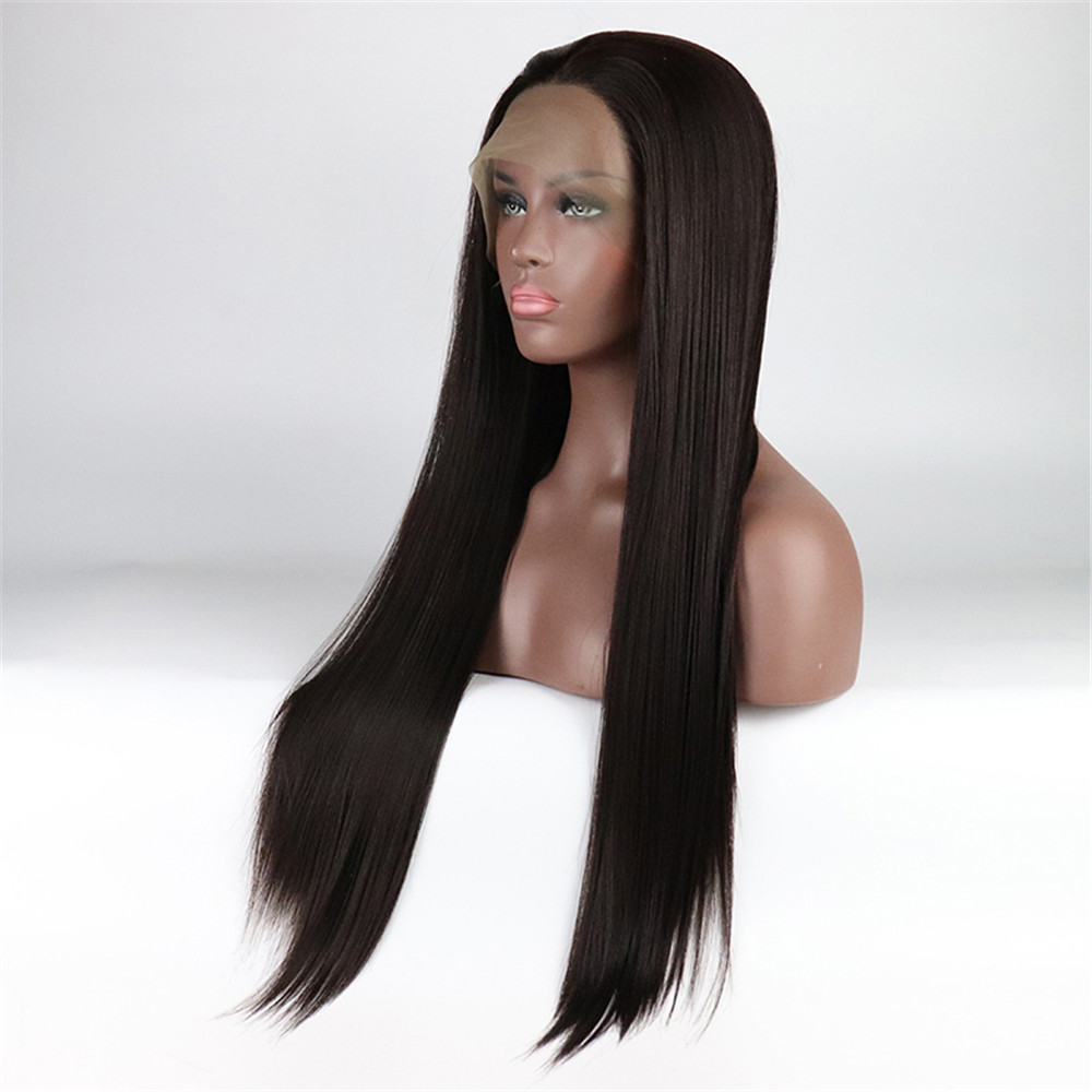 13x6 Deep Part Lace Front Wigs Yaki Straight Long Hair Heat Resistant Fiber Synthetic Wig With Natural Hairline And Baby Hair