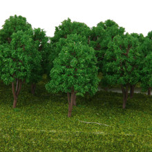 20 pces 1/150 escala paisagem modelo trem ferroviário árvores verde