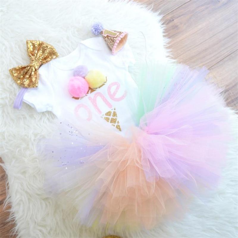 1 rok sukienka urodzinowa dziewczynka impreza jednorożec Tutu sukienka noworodka dziewczynek stroje małe dziewczynki odzież dla niemowląt 12 miesięcy