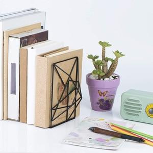 Image 4 - Новинка черные закладки, декоративные металлические книжные концы для полок, уникальный геометрический дизайн для полок, кухонных поваренных книг, декоратов
