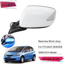 ZUK 자동차 외장 Rearview Door Mirror Assy For HONDA FIT JAZZ GE6 GE8 2009 2014 전기 접이식 LED 라이트가있는 7 핀