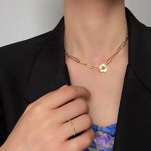 Collier ras du cou en forme de fleur creuse pour femme, bijou de Style français, délicat, plaqué or, accessoires