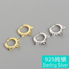 ear clip punk outfits geometry character set auger three pyramid buckle S925 pure silver earrings ears female ear ring цена 2017