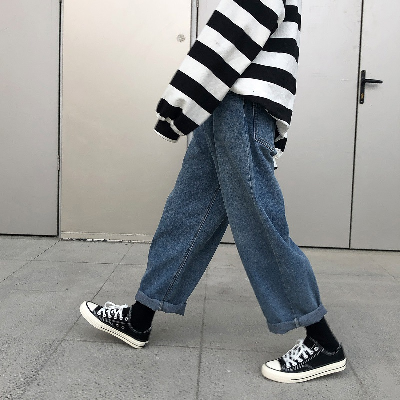 Summer 2020 Fashion Casual street new Korean loose straight jeans men's trend BF wild wide leg pants handsome harem trousers