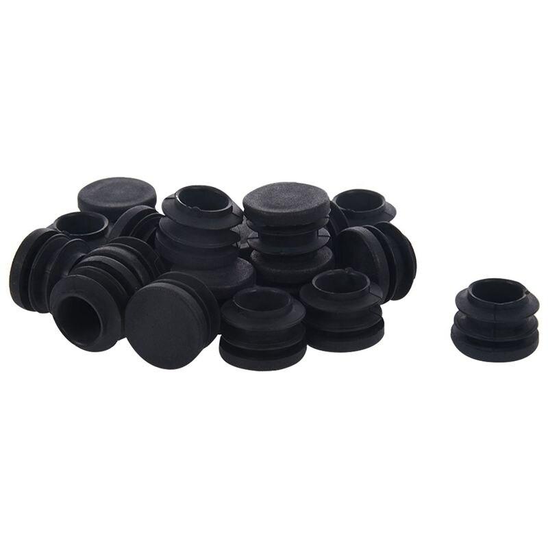 Blanking End Caps Round Tube Insert Cover 19mm Dia 20 Pcs Black