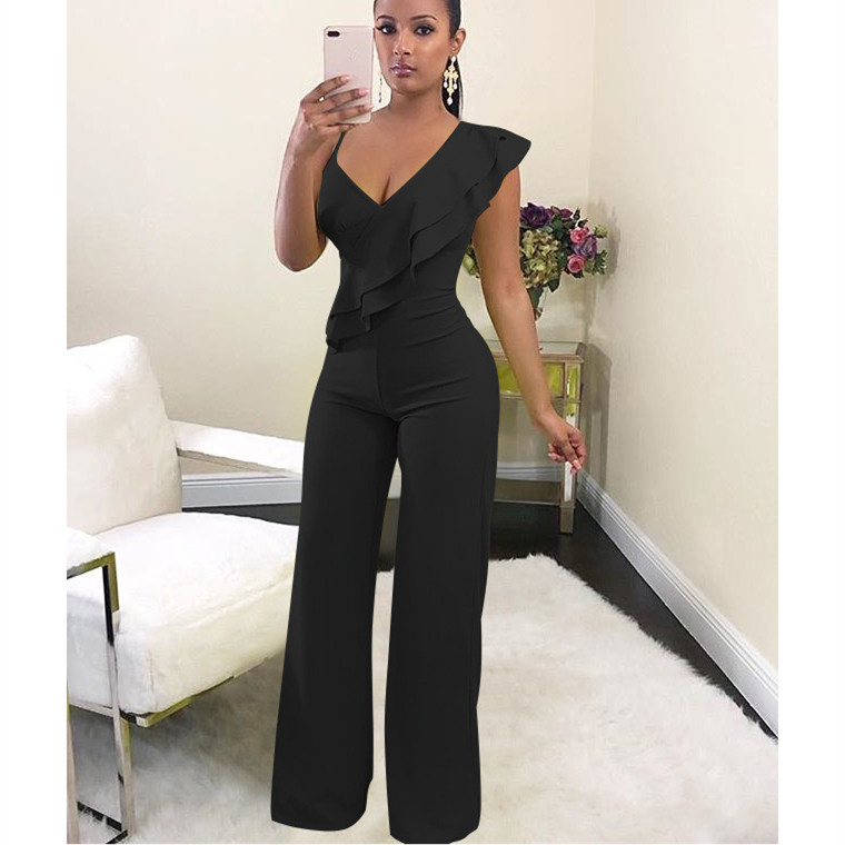 2019 Women Off Shoulder Wide Leg Jumpsuit Elegant Layered Ruffles High Waist Solid Jumpsuit Streetwear Loose Overalls