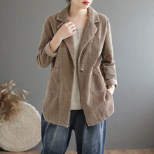 New Arrival Spring Arts Style Women Long Sleeve Corduroy Casual Blazers Coat Double Pocket Vintage Female Blazer Jacket S532