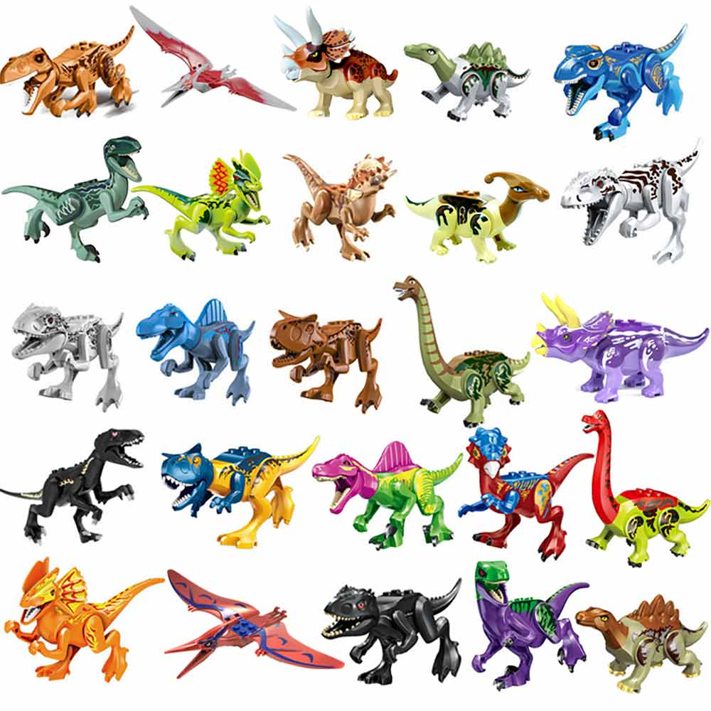 Legoings Building Blocks Jurassic Park Dinosaur World Colorful Raptor Pterosaurs Triceratops Figures Toys For Kids Childrens