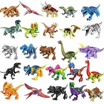 Legoings klocki Park jurajski dinozaur świat kolorowe Raptor pterozaury Triceratops figurki zabawki dla dzieci dzieci tanie i dobre opinie HAPPY MONKEY Certyfikat Jurassic Dinosaurs Do not eat Unisex 3 lat Bloki Z tworzywa sztucznego Samozamykajcy cegły Construction DIY Educational ENLIGHTEN Toys brinquedos