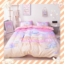 Duvet-Cover Bedding-Set Bed-Sheet Cinnamoroll Pillowcase Anime Cartoon Dog Cotton 4pcs/Set