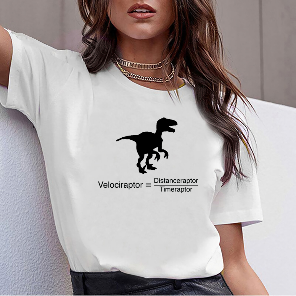 Tops T Shirt Women Velociraptor Funny Science O-Neck Vintage Cotton Female Tshirt