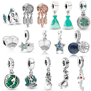 2pcs/lot Mermaid Theme Ariel Princess Charm Pendant Flounder Frond Shell Star Beads Original Brand Bracelet Bangle gifts(China)