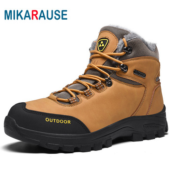 MIKARAUSE Fashion Winter Snow Boots Men Winter Plush Shoes Cow Suede Warm Sneakers Waterproof Leather Outdoor Male Hiking Boots