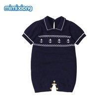 Macacão infantil de manga curta para meninos, roupas de verão na moda para bebês, meninos, macacão de malha com decote, roupa de peça única