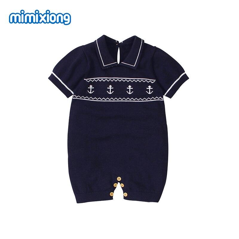 תינוק Rompers בני קיץ קצר שרוול סרבלי חליפת קיץ אופנה תורו למטה צוואר סרוג יילוד תינוקות סרבל חתיכה אחת בגדים