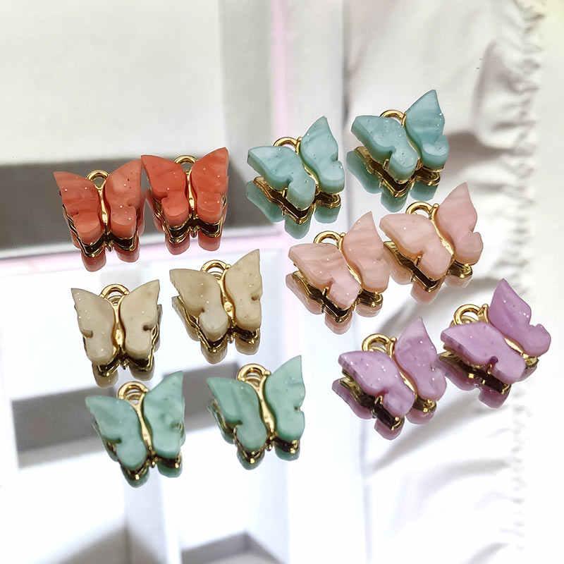 JJFOUCS 10 יח'\סט אופנה הניצוץ אקריליק פרפר זהב צבע עבור עגיל שרשרת תליון DIY תכשיטי אביזרים סיטונאי