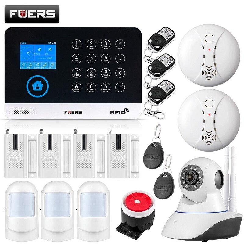 FUERS WG11 WIFI Senza Fili di GSM di Business A Casa Antifurto di Sicurezza del Sistema di Allarme APP di Controllo Sirena RFID Rilevatore di Movimento PIR Sensore di Fumo