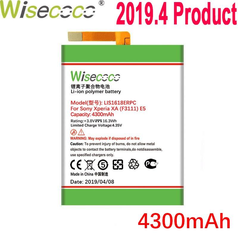Wisecoco 4300 mah lis1618erpc bateria para sony xperia xa (f3111) e5 f3313 f3112 f3116 f3115 f3311 g3121 g3123 g3125 g112 g3116