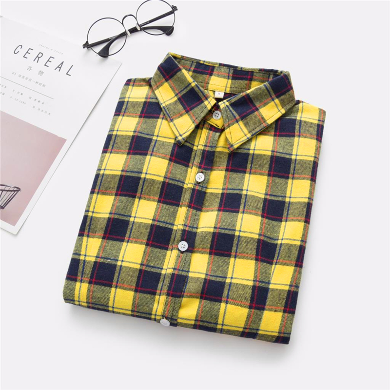 2020 New Women Blouses Brand New Excellent Quality Cotton 32style Plaid Shirt Women Casual Long Sleeve Shirt Tops Lady Clothes 23