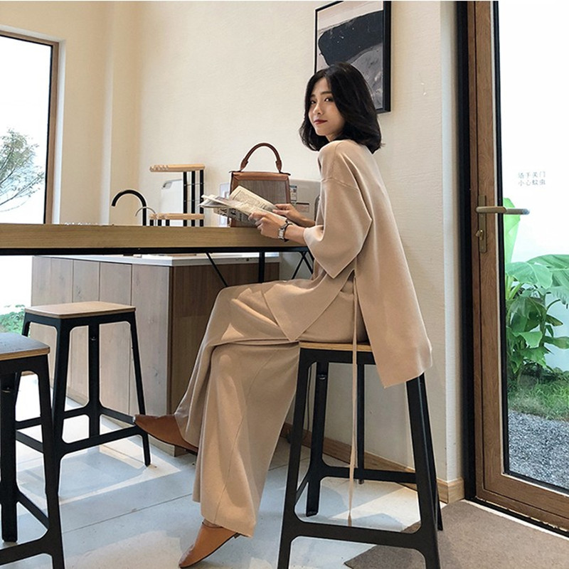 New Knitting Female Sweater Pantsuit For Women Two Piece Set Knitted Pullover V-neck Long Sleeve Bandage Top Wide Leg Pants Suit