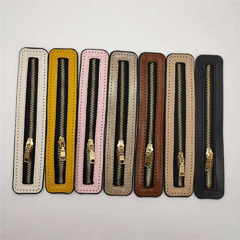 Custom DIY Woven Bag Hardware PU Leather Accessories Woven Bag Zipper Accessory For Sewing Decorative Sleeping Bag Craft