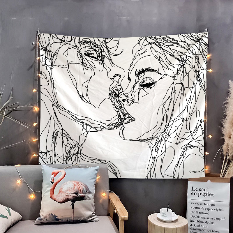 Wall Tapestry Simple Love Tapestry Black And White Lover Wall Hanging For Home Deco Living Room
