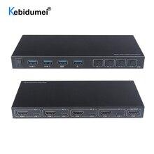 4 порта HDMI KVM коммутатор 4 в 1 выход HDMI USB переключатель сплиттер для обмена монитором клавиатура мышь Адаптивная EDID/HDCP дешифрование